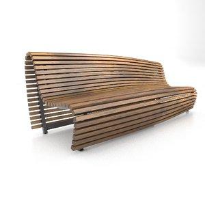 slat bench 3D model