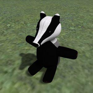 badger plushie model
