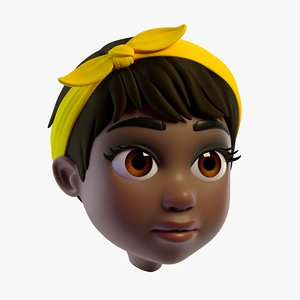 lovely cartoon girls head 3D