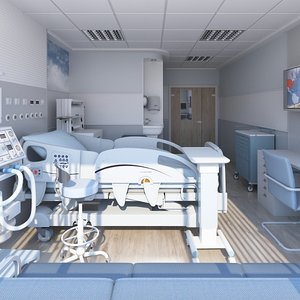 3D medical patient room model