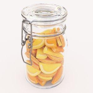candy jar orange slice 3D