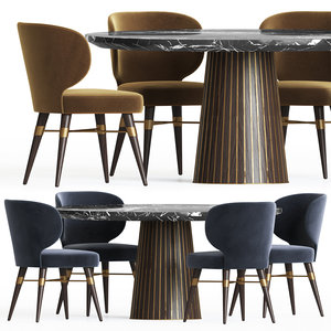 3D dining set 18 table model