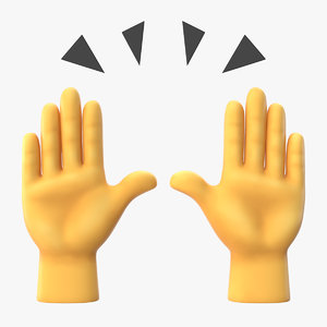 3D raising hands emoji model