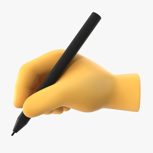 writing hand emoji 3D