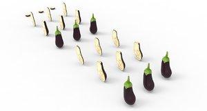 eggplant food aubergine 3D