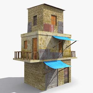 3D ready old house slum model
