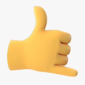 3D model hand emoji