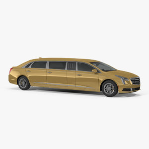 stretch limousine generic rigged 3D model