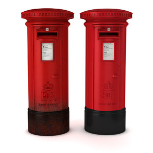 british red post box 3D model