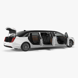 3D cadillac door limousine rigged model