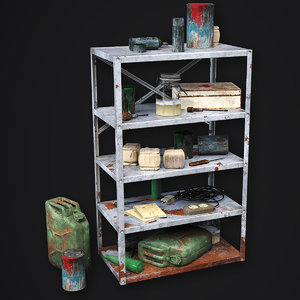 metal shelf - modular 3D model