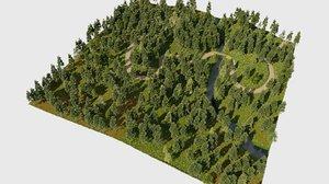 3D model path forest blender