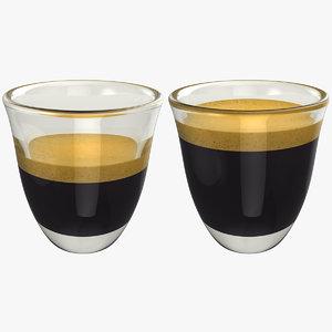 realistic espresso shot set 3D model