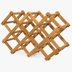 foldable wooden wine bottle 3D model