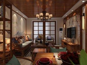 living room dining balcony 3D