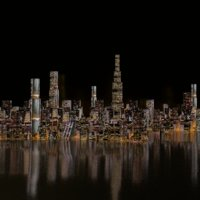 large scale cityscape scene at night