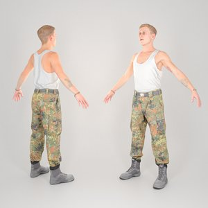3D equipped animation ready soldier