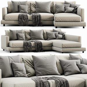 flexform long island chaise lounge 3D model