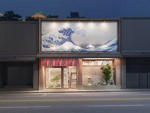 3D japanese sushi restaurant facade