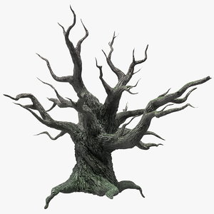 3D spooky old twisted tree winter model