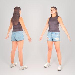 woman a-pose 3D