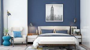 3D bedroom modern render model