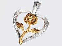 Rose Heart Pendant 2