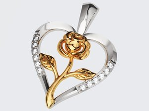 rose heart pendant 2 3D model