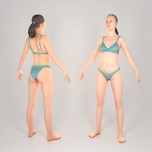 scanned animation ready human woman 3D model