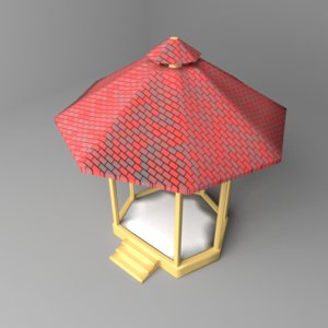 3D octagonal gazebo