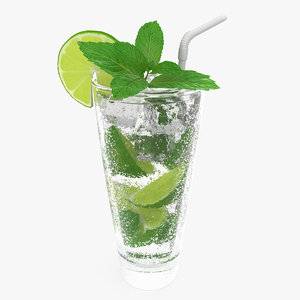 glass mojito cocktail 3D model