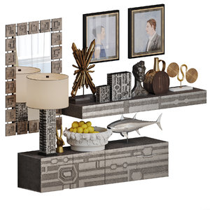 abstract block decor interior set 3D model