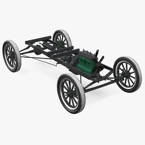 retro car chassis engine 3D