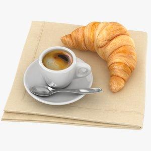 realistic espresso croissant 3D model