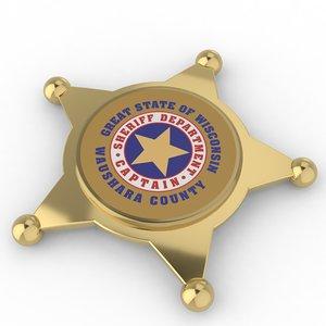 3D sheriff s badge model