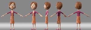 cartoon girl child student model