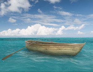 3D rowboat boat model