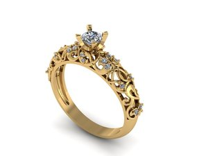 solitaire ring 14 3D model