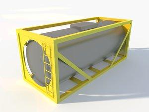 3D low-poly oil fuel tank