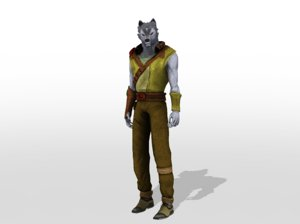 humansize rigged wolf character model
