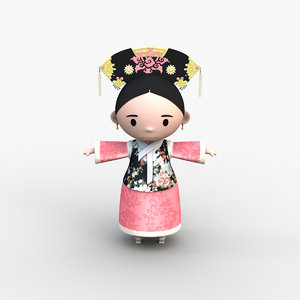 3D model character chinese qing dynasty