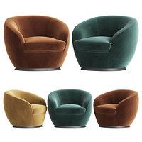 Luxury Italian Designer Velvet Swivel Armchair