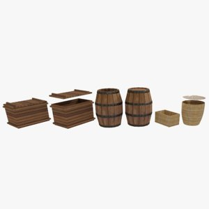 barrel basket box 3D model