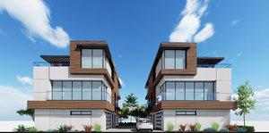 3D modern townhouses