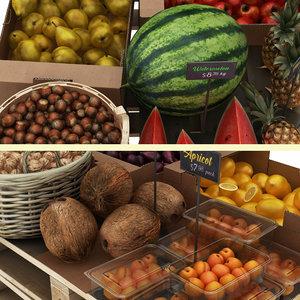 3D model fruit display 1 hazelnuts