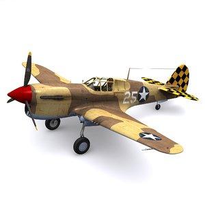 3D curtiss warhawk fighter p-40f