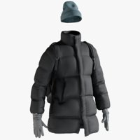 Men's Down Coat with Hat, Cloves and Backpack