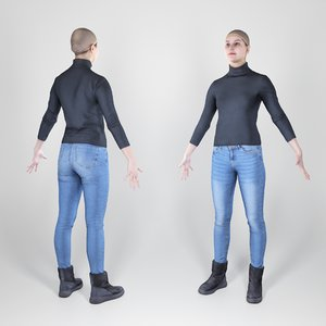 photogrammetry young woman casual 3D model