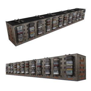 3D model brick residential building