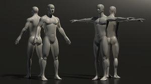 3D base mesh man muscle
